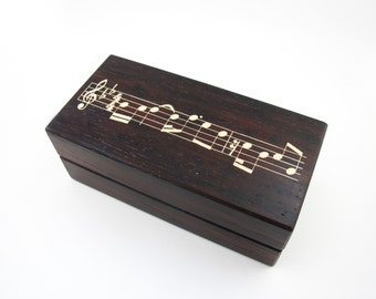 Custom Double Ring Box - Sheet Music Note Geek Nerd Sound wave Wedding Box- Original Bespoke Handmade Unique Alternative Wedding Bridal Gift
