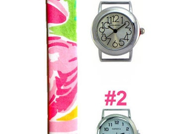 2015 Lilly Pulitzer All Nighter Fabric Wrist Band with or without Silver Watch Face