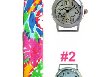 2015 Lilly Pulitzer Fishing for Compliments Fabric Wrist Band with or without Silver Watch Face