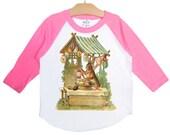 Easter Bunny Raglan Shirt, choose color, Vintage Rabbit Graphic T Shirt, size 2, 4, 6, 8, 10, or 12