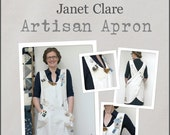 Artisan Apron Pattern - make and embellish your own crossover apron and wear your creativity! Includes S, M, L and XL sizes