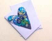 Greeting Card - Original Textile Artwork - Crazy Patchwork Embellished Heart