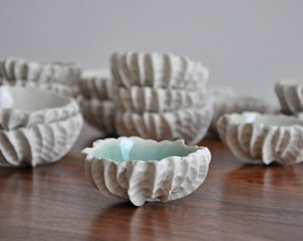 Small Scallop Bowl - Choice of Color Small Ceramic Bowl Porcelain White Ceramic Bowl