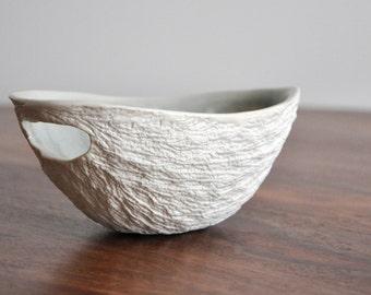 Gray Small Modern Walnut Bowl - Crackle White Porcelain Bowl Ceramic Dish