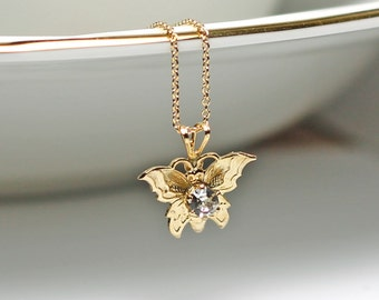 Gold Butterfly Necklace, 14K Gold Fill Chain, Vintage Crystal Necklace, Gold Pendant Necklace