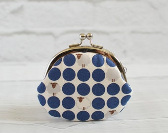 Clasp Change Coin Purse Kawaii Sheep Earbud Holder Polka Dot Midnight Blue