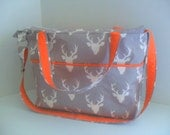 Large Diaper Bag - Gray Deer - Zipper Closure - Messenger - Tote Bag - Diaper Bag - Stroller Strap - Cross Body - Laptop - Deer Diaper Bag