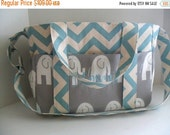SALE Personalized Extra Large Chevron Diaper bag Made of Light Blue Chevron with Gray Elephant Fabric / Elastic Pockets