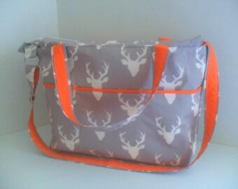 Large Diaper Bag - Gray Deer - Zipper Closure - Messenger - Tote Bag - Diaper Bag - Stroller Strap - Cross Body - Laptop - Deer Diaper Bag