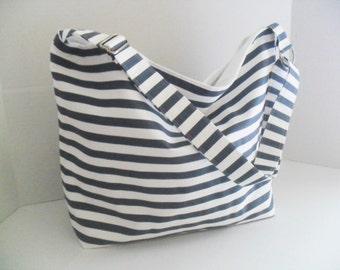 Hobo - Denim and White Stripe Fabric - Messenger Bag - Crossbody - Diaper Bag - Blue Stripe Bag