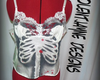 Skeleton Rib Cage cami with blood splatter VINTAGE upcycle