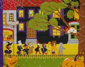 Furoshiki 'Kotaro the Cat on Halloween' Cotton Japanese Fabric 50cm w/Free Insured Shipping