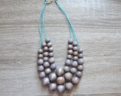 Gray Statement Necklace - Bridesmaid Jewelry - Everyday Necklace