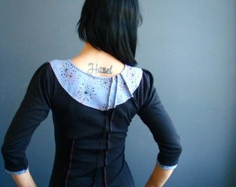 Still in Love ~ iheartfink Handmade Hand Printed Womens Black and Ice Blue Unique Fitted Jersey Top