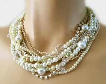 Bridal Pearl Necklace, Pearl Wedding Necklace, Pearl Choker Necklace, Bridal Necklace Statement, Chunky, Cream, Champagne , Crystal, Bride