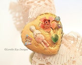 Sweet Charlotte Frozen Charlotte Doll Ring Roses & Butterfly Crossed Arm Tiny Charlotte Doll Ring