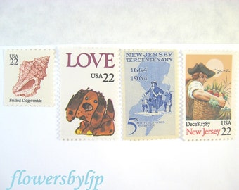 Vintage Unused Postage Stamps, Love New Jersey Pup Seashells, Mail 20 Wedding Invites 2 oz 68 cents postage, New Jersey Shore, Rustic Farm