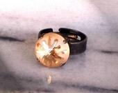 Swarovski Crystal 14mm sea urchin fancy stone ring golden shadow semi-mat,lovely new fancy stone shape