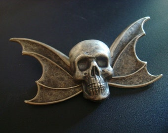 Gothic Winged Skull Brooch Pin, Vintage Silver Ox Finish, Metal Bonded For Quality, NOT Glued, Hand Crafted, Original Design, USA Ship