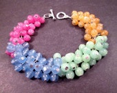 Watercolor Cha Cha Bracelet, Yellow Green Blue Pink Hombre Bracelet, Colorful and Silver Charm Bracelet, FREE Shipping U.S.