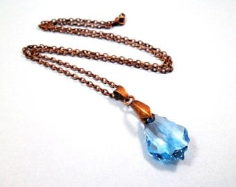 Crystal Pendant Necklace, Blue Swarovski Crystal and Brass Chain Necklace, FREE Shipping U.S.