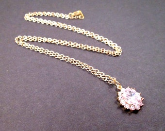 Cubic Zirconia Necklace, White Rhinestone Oval Pendant, Gold Chain Necklace, FREE Shipping U.S.