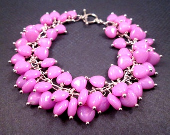 Silver Charm Bracelet, Bright Pink Hearts, Wire Wrapped Cha Cha Style Bracelet, FREE Shipping U.S.