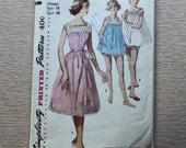 "36"" Bust - 1950s Sewing Pattern - Simplicity 1553 Shortie Nightgown and Panties"