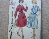 """45"""" Bust - 1960s Sewing Pattern - Simplicity 2926 - One-Piece Shirtdress"""