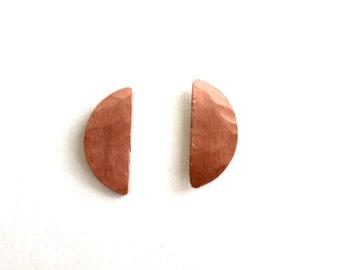 Copper Half Moon Stud Earrings