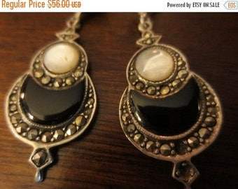 50% Off SALE Art Deco Sterling Silver Black Onyx Mother of Pearl Marcasite Earrings