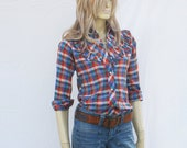 vintage 70s RAINBOW PLAID shirt | country western ruffles metallic  | XS