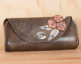 Small Leather Clutch - Handmade in the Dakota pattern with hand-cut flowers in pink + black  - Leather Purse, Clutch, Wristlet, or Waist Bag