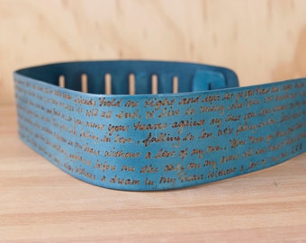 Leather Guitar Strap - Personalized Smokey Pattern - Blue  - Custom Guitar Strap for Acoustic or Electric Guitars