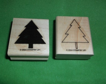 Two Christmas Trees Rubber Stamps Stampin up
