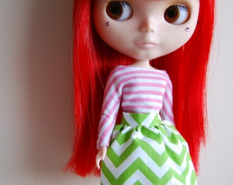 Blythe green and white zigzag summer skirt