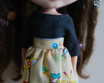Blythe kawaii animals lace trimmed summer skirt