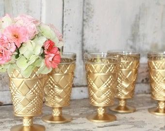Gold wedding decor,  6 Gold dipped vintage vases and votive candle holders, table decorations, gold glitter vase, stemmed pedestal vase