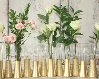 Gold vases, wedding decor,  Set of 36 gold dipped vintage bud vases, painted budvase collection, glitter vase, centerpieces