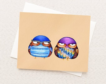 Funny Greeting Card - Grumpy Birds
