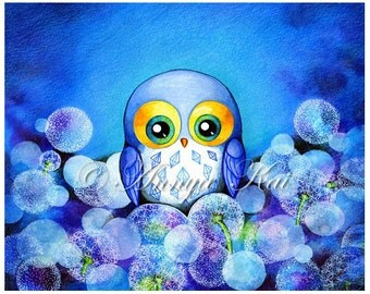 Blue Owl Watercolor Art - Illustration Painting - Archival Print