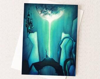 Halloween Card - Earth Moon Goddess Dark Fantasy - Greeting Card Size A2 - Turquoise Blue Green Teal Jewel Tones