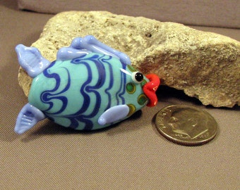 Handmade Lampwork Focal Bead by Mona Sullivan - Colorful Fish Focal - Large focal by Mona Sullivan dots Boho Organic Tribal Enamels Stringer