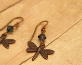 Small Brass Dragonfly Earrings with Smokey Blue Austrian Crystals, Dragonfly Jewelry, Dangle Earrings, Brass Dragon Fly Accessory