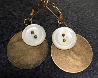 Brass and mother of pearl earrings