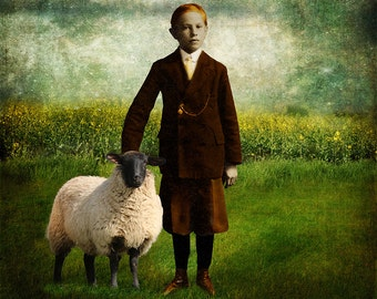 A Boy and His Sheep - Wall Art 8 X 8 inches - Printable - Download, print and cut