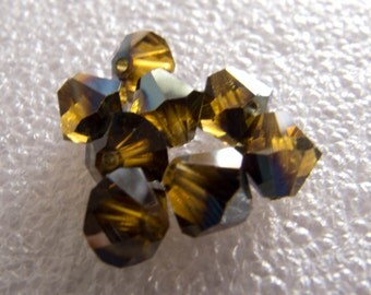 Vintage Beads Swarovski 1940 Art 5301 Very Rare Mink Bicone Glass Beads - 5mm - Lot of 8