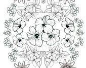 Coloring Art Print Hawaiian Flowers Design 11x17 Poster Art For You To Color with FREE Markers