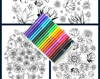 Set of 3  Coloring Art Prints Floral Designs 11x17 Poster Art For You To Color with FREE Markers