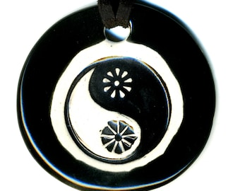 Yin Yang Ceramic Necklace in Black and White